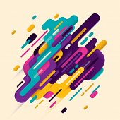 Modern style abstraction with composition made of various rounded shapes in color. Vector illustrati poster