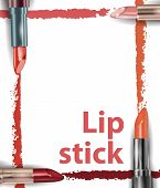 Постер, плакат: Lipstick Close Up Of Lipstick Smear Sample Beauty And Cosmetics Background Use For Advertising Fl