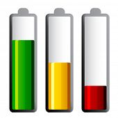 vector batteries with different charge levels
