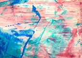 Original abstract acrylic color painting on artistic canvas. Hand painted artwork or grunge backgrou poster