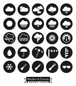 Weather and climate round icons set. Collection of weather and climate related circular black vector poster