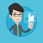 Man pressing like button. Man pressing social like button with thumb up. Caucasian smiling man press poster