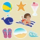Vintage summer icons. Vector format.