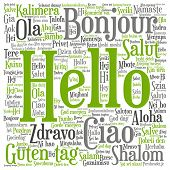Concept or conceptual abstract hello or greeting international word cloud in different languages or  poster