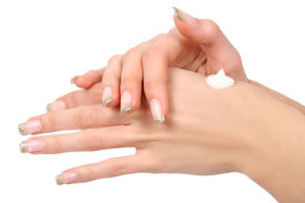 image of body-lotion  - woman caring for her hands - JPG