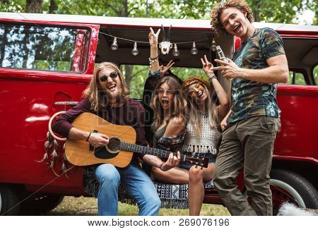 Group of young hippies men