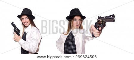Young woman holding handgun isolated