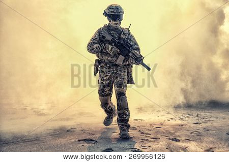 Soldier Breaking Through Battlefield Covered