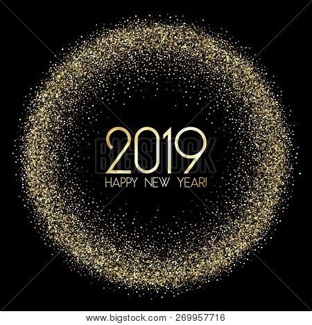 poster of Premium 2019 Happy New Year Card, Gold Confetti. 2019 Holiday Card, Banner Or Party Poster Design Wi
