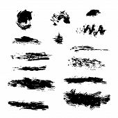 Set Of Hand Drawn Design Elements. Vector Collection Of Black Ink Abstract Textures. Grunge Ink Pen  poster