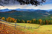picture of landscapes beautiful  - the mountain autumn landscape with colorful forest - JPG