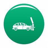 Crashed Pillar Icon. Simple Illustration Of Crashed Pillar Vector Icon For Any Design Green poster
