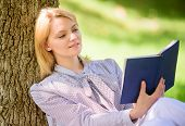 Girl Lean On Tree While Relax In Park Sit Grass. Self Improvement Book. Self Improvement And Educati poster