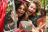 Photo of amusing hippie couple smiling and fooling around while driving retro minivan in forest poster