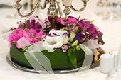 picture of wedding table decor  - Bouquet on a wedding table - JPG