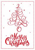 Christmas Scandinavian Greeting Card With Merry Christmas Calligraphy Lettering Text. Hand Drawn Vec poster