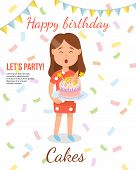 Birthday Cake Concept. Girl With Cake. Present And Sweetness. Homemade Bakery. Childrens Birthday Pa poster