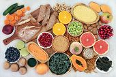 Health food for a high fibre diet with fruit, vegetables, whole grain bread, grains, whole wheat pas poster