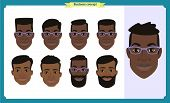 Group Of Working People, Business Black American Man Avatar Icons.flat Design People Characters.busi poster