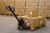 picture of hand truck  - boxes on hand pallet truck - JPG