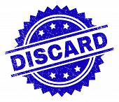 Discard Stamp Seal Watermark With Distress Style. Blue Vector Rubber Print Of Discard Label With Gru poster