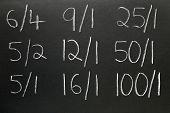 Wedden op geschreven op een schoolbord.