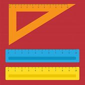 School Instruments, Rulers Vector Set. Instrument Ruler For Measure And Tool Ruler Centimeter And Mi poster