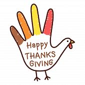 Hand Trace Turkey Childrens Drawing With Written Text Happy Thanksgiving. Cute Childish Thanksgiving poster