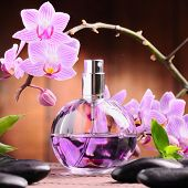 stock photo of perfume bottles  - orchid and perfume bottle - JPG