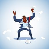 Vector Illustration Of Boss Under Stress. Stressed Vector Cartoon Characters. Angry Boss Stands Rais poster