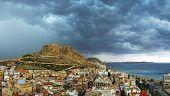 Alicante city before storm