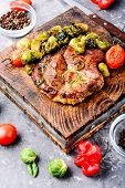 Meat Steak With Brussels Sprouts poster