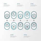 Holiday Icons Line Style Set With Candy Cane, Lights Garland, Snowflake Halo Elements. Isolated  Ill poster