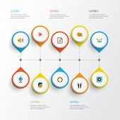 Audio Icons Flat Style Set With Listen, Archive, Voice And Other Portfolio Elements. Isolated Vector poster