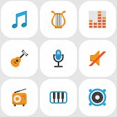 Audio Icons Flat Style Set With Musical, Mic, Silent And Other Karaoke Elements. Isolated  Illustrat poster