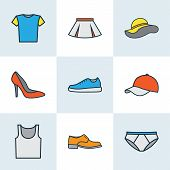 Garment Icons Colored Line Set With Boots, Underpants, Gumshoes And Other Underwear Elements. Isolat poster