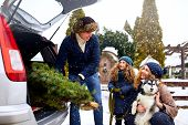 Father Brought Christmas Tree In Large Trunk Of Suv Car. Daughter, Mother And Dog Meet Dad Happily H poster