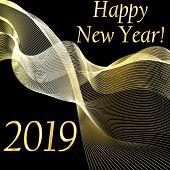 New Year 2019 Background With Gold Fluid Wave. Happy New Year Background. New Year Vector Illustrati poster