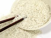 White Rice With Chop Sticks poster