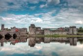 King John Castle in Limerick with reflection in Shannon river
