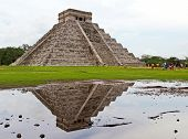 Kukulkan pyramid with reflection in Chichen Itza - Mexico