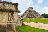 CHICHEN ITZA, MEXICO - JULY 12: Uknown people visiting Kukulkan pyramid in Chichen Itza - one of 7 N