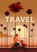 Travel, Trip Vector Illustration. Sunset, Ocean, Sea, Seascape. Surfing Scooter, Moped On Road Palm  poster