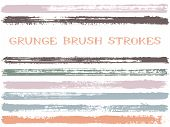 Ink Brush Strokes Isolated Design Elements. Set Of Paint Lines. Vintage Stripes, Textured Paintbrush poster