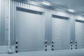 Shutter Door Or Roller Door And Concrete Floor Outside Factory Building  For Industrial Background. poster