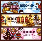 Religious Symbols Of Buddhism Religion, Vector Sketch Pebble And Lotus, Gold Fishes And Yin Yang, Dh poster