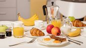 Breakfast Time. Croissants And Orange Juice, Jam And Honey. Coffee With Cream Or Milk. Fruits - Bana poster