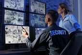 Security Guards Monitoring Modern Cctv Cameras Indoors poster
