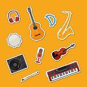 Vector Cartoon Musical Instruments Stickers Set Illustration. Instrument Guitar And Drum, Tambourine poster
