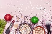 Cosmetic Makeup Brushes, Blush Powder, Christmas Balls, Lipstick, Holographic Glitter Confetti In Th poster
